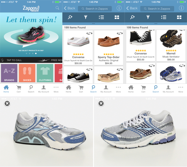 360 Product Views in the Zappos Mobile App