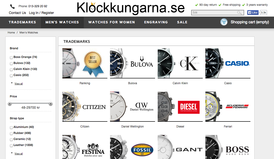 Klockkungarna sells designer watches online using Arqspin 360